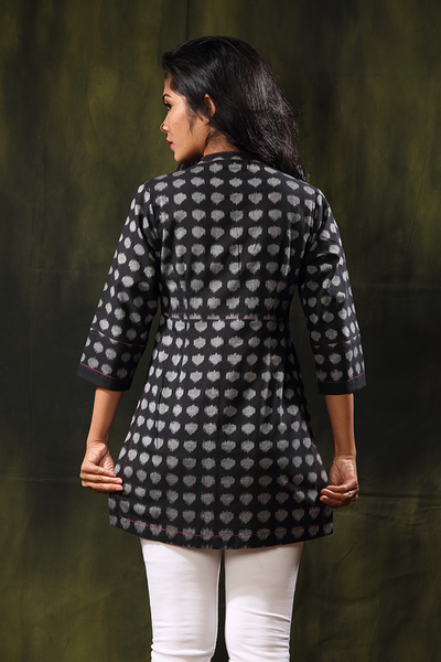 polka dot noir tunic - seamstress.co.in - back