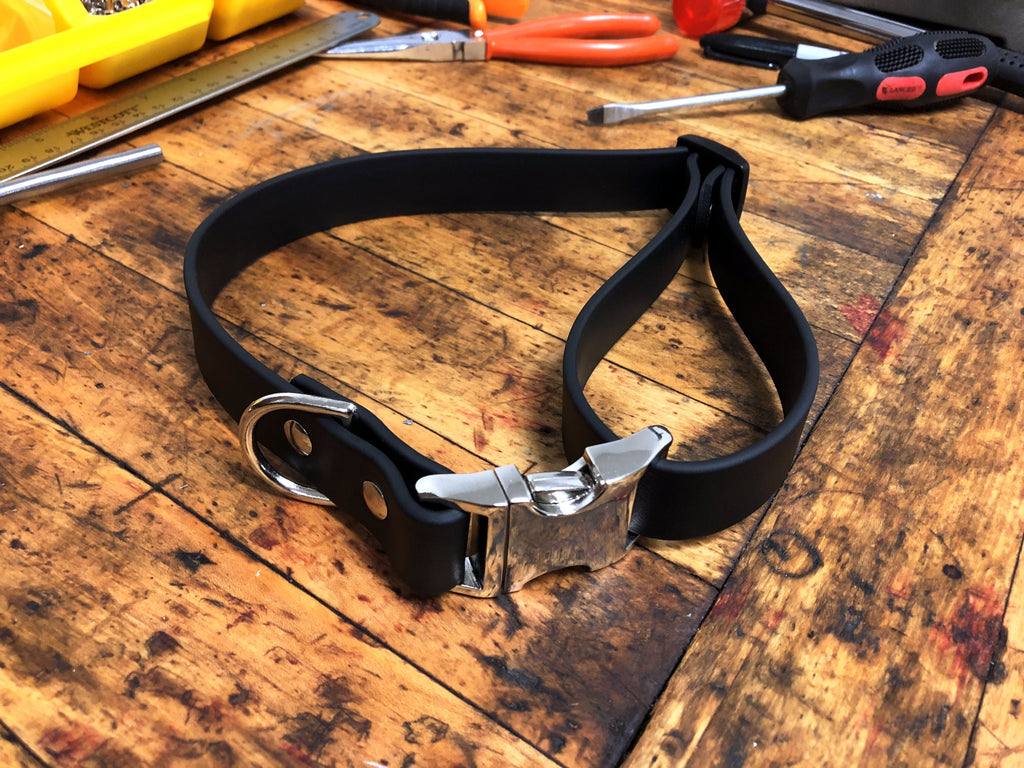 Argos Gear Black BioThane Aluminum Buckle Collar - Collars - Argos Dog Gear - Made in the USA - Guaranteed for Life - Ready for Every Adventure - Copyright all rights reserved