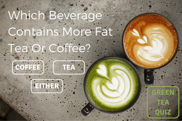 Which beverage contains more fat, tea or coffee?
