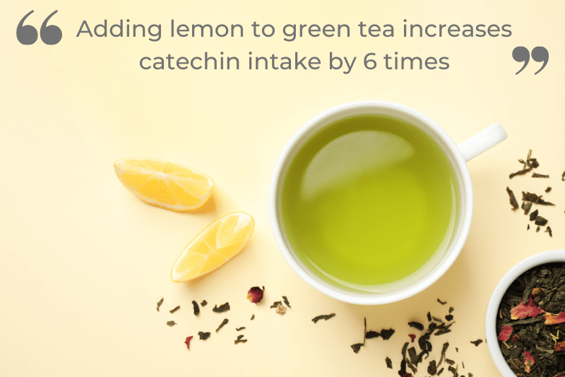 Adding lemon to green tea increases catechin intake by 6 timtes