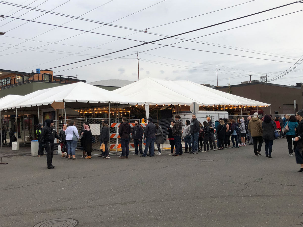 People lining up to get into Portland Night Market