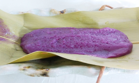Purple Potato Mochi wrapped in Shell Ginger leaf