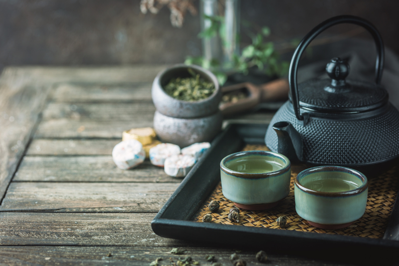 japanese healthy green tea in a small cups