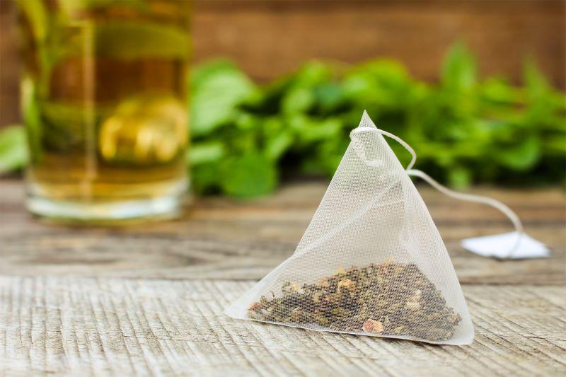 Silon tea bag on the table