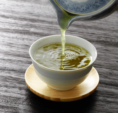 Steeped green tea
