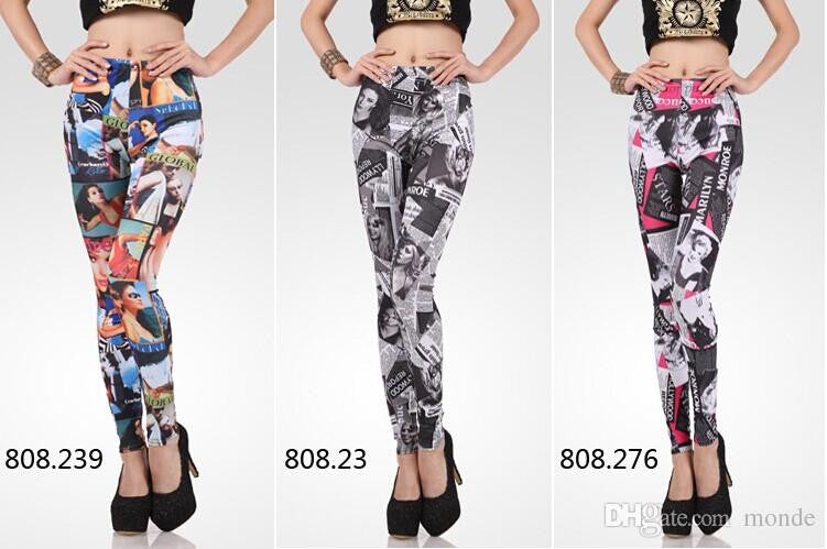 New Fashion Printing Women Pants Sexy Women Leggings Patterned Interesting Women's Patterned Tights