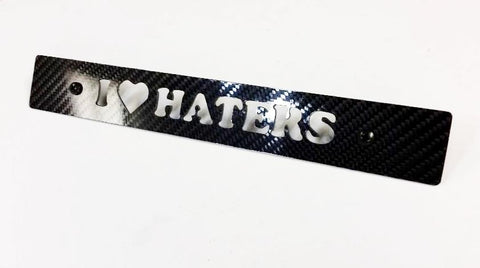 CARBON FIBER I LOVE HATERS Front License Plate Delete for Subaru WRX Impreza STi