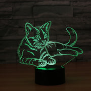3D Cat Night Light Lamp Remote Touch Switch 7 Colors USB Illusion Lamp