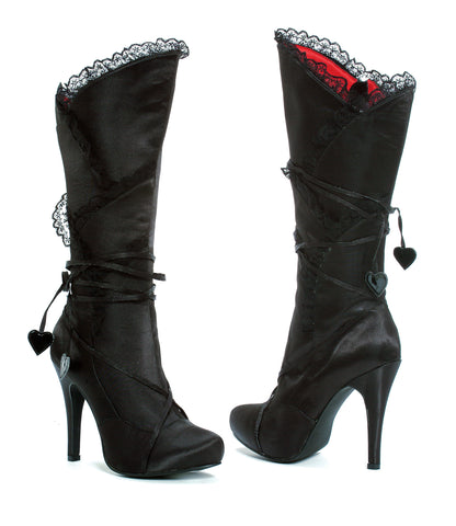 "Gothika Satin Knee High Boot 4"" Heel"