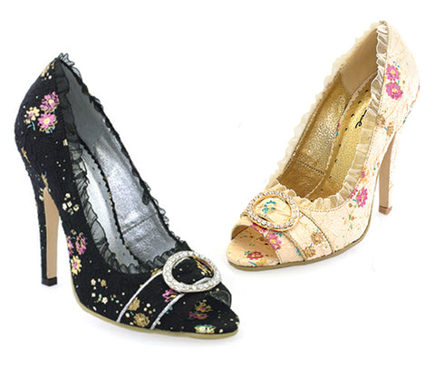 "Tori Decorative Fabric Peep-Toe W/Rhinestone 4.5"" Heel"