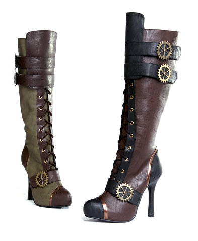 Quinley Knee High Steampunk Boot With Laces 4' Heel