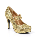 "Jane Double Strap Glitter Mary Jane 4"" Heel"