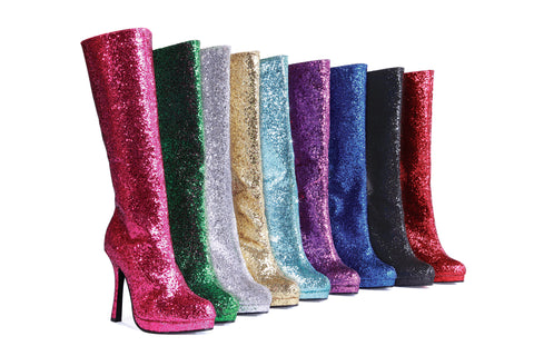 "Zara Knee High Boots with Glitter 4"" Heel"