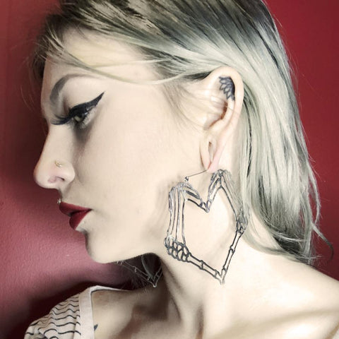 Heart Skeleton Hands Oversized Hoop Earrings