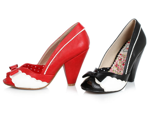 "Margie Peep Toe Shoe With Bow And Scalloped Detail 4"" Heel"
