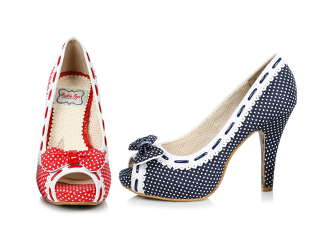"Amelie Polka Dot Peep Toe Shoe With Bow 4"" Heel"