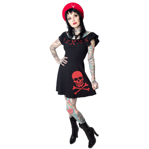 Ruffle Dress Crossbones Red