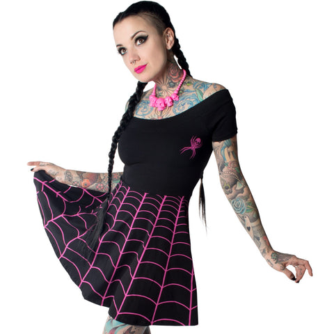 Spiderweb Pink Off Shoulder Skater Dress