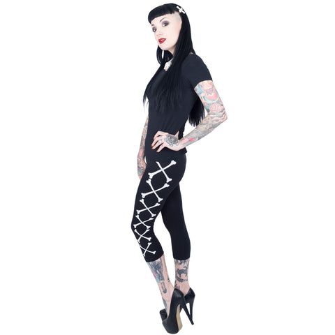 Crossbones Capri Leggings