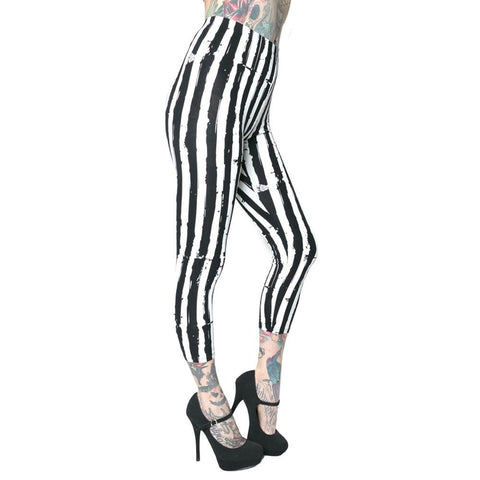 Stripe White Distressed Capri Leggings
