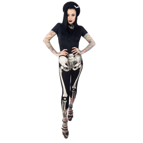 Skele-Bone White Capri Legging