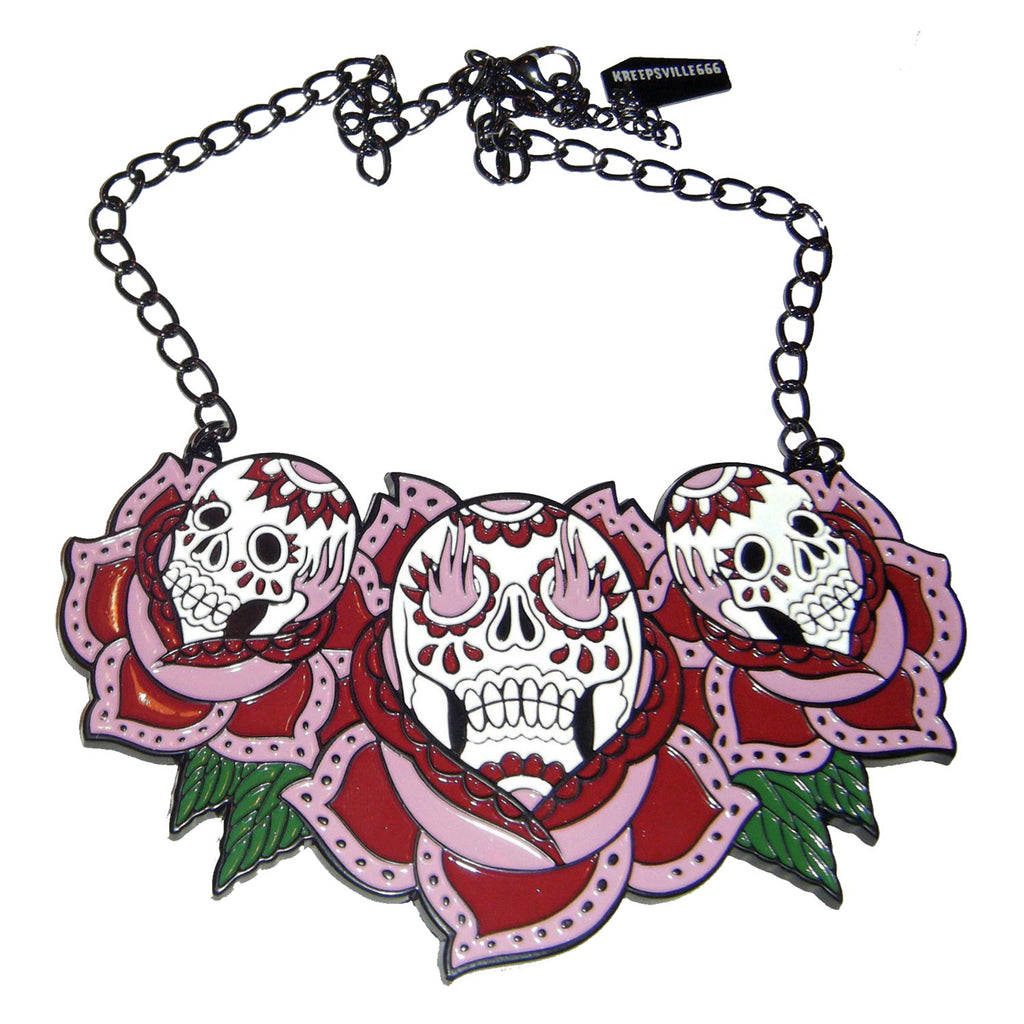 Trip Skull Rose Necklace