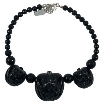 Jack O Lantern Pumpkin Necklace Black