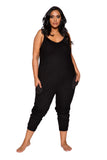 LI294 Roma Confidential Wholesale Lingerie Black Plus Size Cozy & Comfy Pajama Jumpsuit with Pocket Details