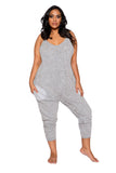 LI294 Roma Confidential Wholesale Lingerie Grey Plus Size Cozy & Comfy Pajama Jumpsuit with Pocket Details