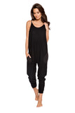 LI294 Roma Confidential Wholesale Lingerie Black Cozy & Comfy Pajama Jumpsuit with Pocket Details