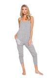 LI294 Roma Confidential Wholesale Lingerie Grey Cozy & Comfy Pajama Jumpsuit with Pocket Details