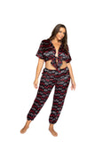 Lips Satin Pajama Set. Includes Collared Tie Top & Pants