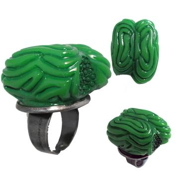 Green Zombie Brain Ring