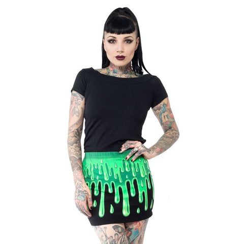 Slime Green Mini Skirt