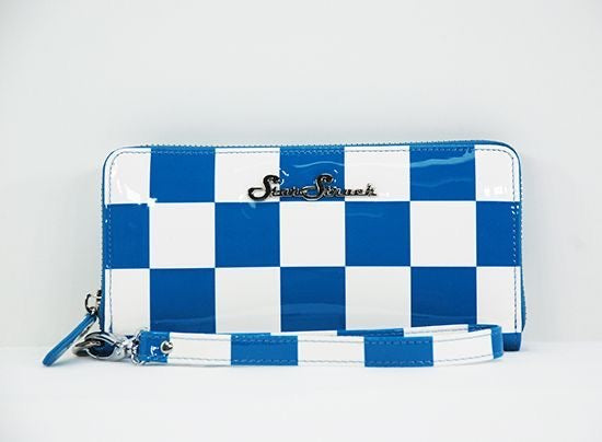 Blue and White Checkerboard Wallet/Wristlet