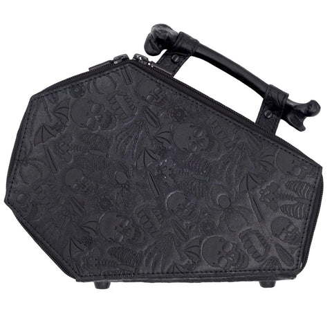 Embossed Skull Coffin Purse Bag
