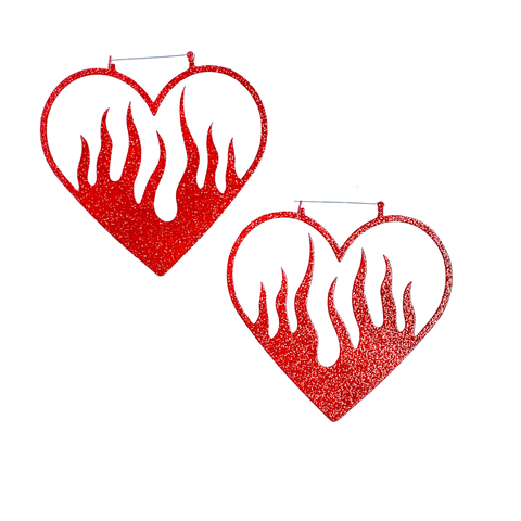 Heart Of Fire Red Glitter Hoop Earrings