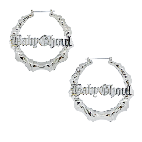 Baby Ghoul Oversized Bamboo Hoop Earrings