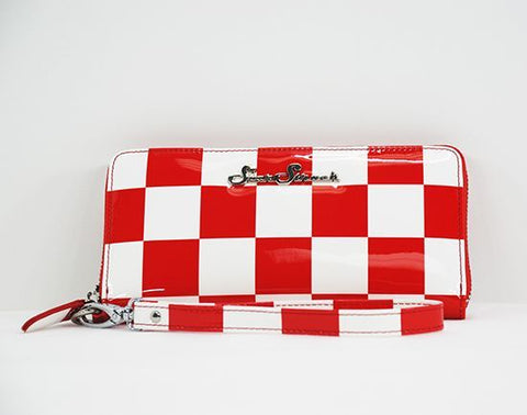 Red and White Checkerboard Wallet/Wristlet