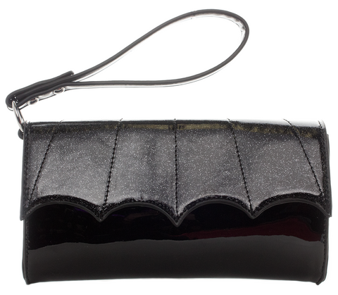 Bat Wing Wristlet Clutch Black/Black Glitter
