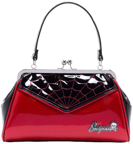 Spiderweb Backseat Baby Purse Red/Black by Sourpuss