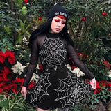 Tangled Web We Weave Spiderweb Choker Skater Dress