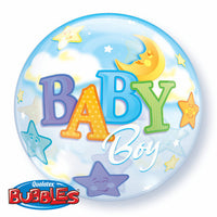 2 x Baby Boy Bubble and 9 Balloon helium Bouquet
