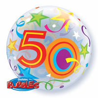 50th Birthday  Bubble and 9 helium Balloon bouquet