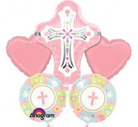 Christening Girl Cross foil shape  helium bouquet