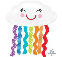 Rainbow cloud foil shape and 9 balloon bouquet