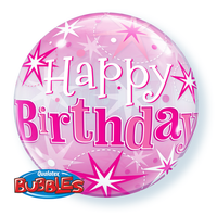 Birthday Pink Star Burst Bubble and 9 helium balloon bouquet
