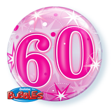 60th Pink Bubble and 9 helium Balloon Bouquet