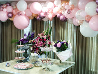 "Organic Balloon Ceiling ""Welcome Baby Girl"""