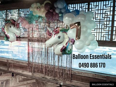 Organic Balloons Arch - Amelia 7th Birthday Unicorn party @ Bankstown Sport Club